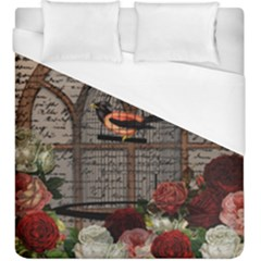 Vintage Bird In The Cage Duvet Cover (king Size) by Valentinaart