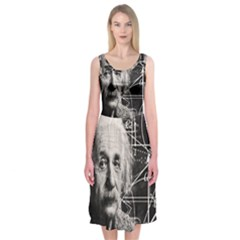 Albert Einstein Midi Sleeveless Dress by Valentinaart