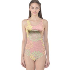 Floral Pattern One Piece Swimsuit by Valentinaart