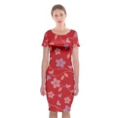 Floral pattern Classic Short Sleeve Midi Dress