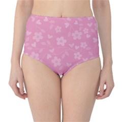 Floral Pattern High Waist Bikini Bottoms by Valentinaart