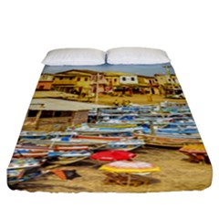 Engabao Beach At Guayas District Ecuador Fitted Sheet (california King Size) by dflcprints
