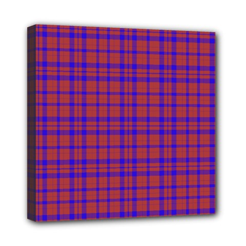 Pattern Plaid Geometric Red Blue Mini Canvas 8  X 8  by Simbadda