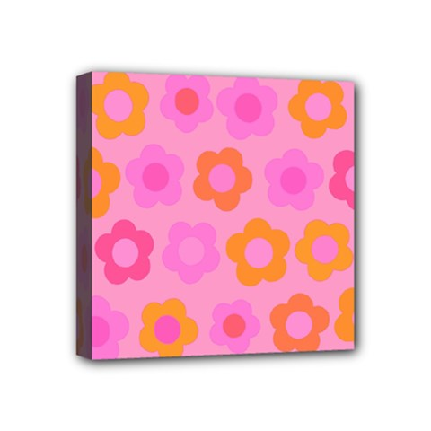 Pink Floral Pattern Mini Canvas 4  X 4  by Valentinaart