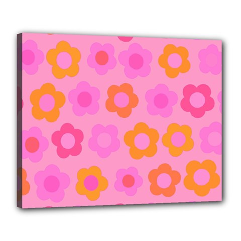 Pink Floral Pattern Canvas 20  X 16  by Valentinaart