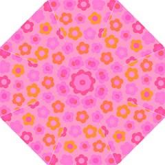 Pink Floral Pattern Hook Handle Umbrellas (large) by Valentinaart