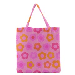 Pink Floral Pattern Grocery Tote Bag by Valentinaart