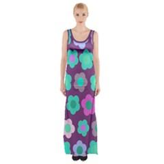 Floral Pattern Maxi Thigh Split Dress by Valentinaart