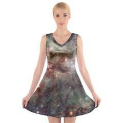 Tarantula Nebula V Neck Sleeveless Skater Dress by SpaceShop
