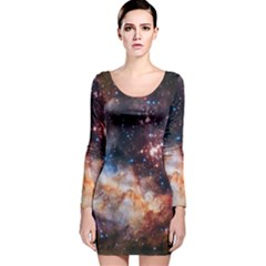 Celestial Fireworks Long Sleeve Velvet Bodycon Dress by SpaceShop