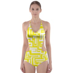 Pattern Cut Out One Piece Swimsuit by Valentinaart