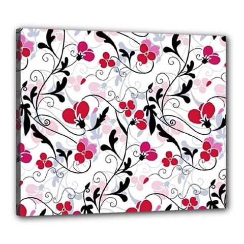 Floral Pattern Canvas 24  X 20  by Valentinaart