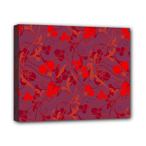 Red Floral Pattern Canvas 10  X 8  by Valentinaart