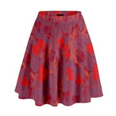 Red Floral Pattern High Waist Skirt by Valentinaart