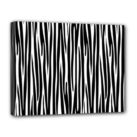Zebra Pattern Canvas 14  X 11  by Valentinaart