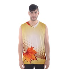 Background Leaves Dry Leaf Nature Men s Basketball Tank Top by Simbadda
