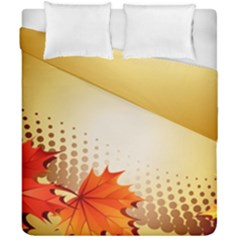 Background Leaves Dry Leaf Nature Duvet Cover Double Side (california King Size) by Simbadda