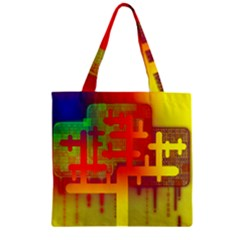 Binary Binary Code Binary System Zipper Grocery Tote Bag by Simbadda