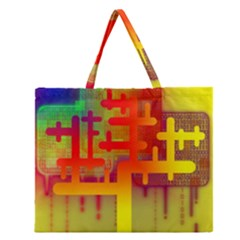 Binary Binary Code Binary System Zipper Large Tote Bag by Simbadda