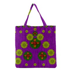 Buddha Blessings Fantasy Grocery Tote Bag by pepitasart