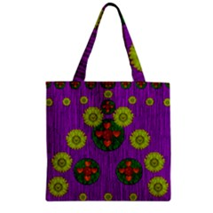 Buddha Blessings Fantasy Zipper Grocery Tote Bag by pepitasart