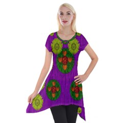 Buddha Blessings Fantasy Short Sleeve Side Drop Tunic by pepitasart