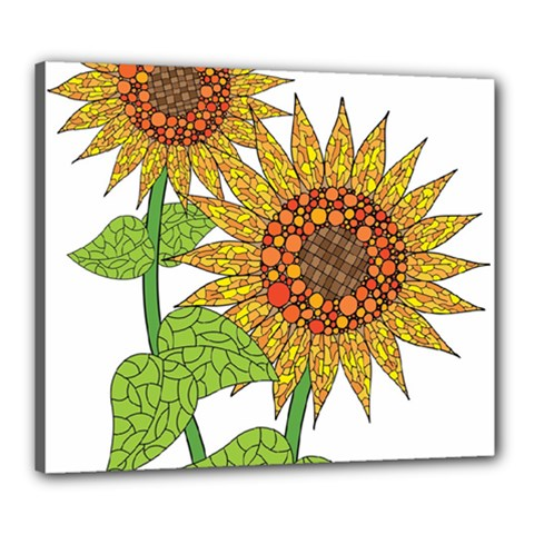 Sunflowers Flower Bloom Nature Canvas 24  X 20  by Simbadda