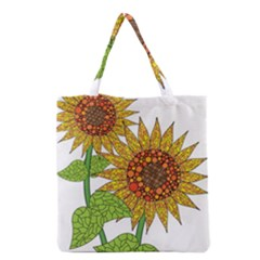 Sunflowers Flower Bloom Nature Grocery Tote Bag by Simbadda