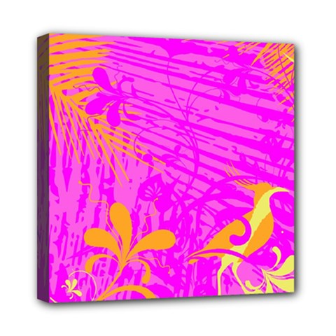 Spring Tropical Floral Palm Bird Mini Canvas 8  X 8  by Simbadda