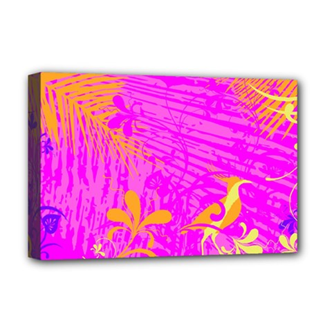 Spring Tropical Floral Palm Bird Deluxe Canvas 18  X 12   by Simbadda