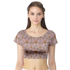 Nature Collage Print Short Sleeve Crop Top (tight Fit) by dflcprintsclothing