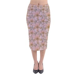 Nature Collage Print Velvet Midi Pencil Skirt by dflcprintsclothing
