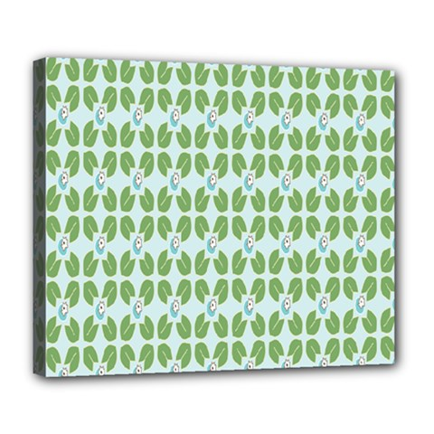 Leaf Flower Floral Green Deluxe Canvas 24  X 20   by Alisyart