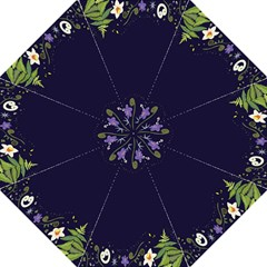 Spring Wind Flower Floral Leaf Star Purple Green Frame Folding Umbrellas by Alisyart
