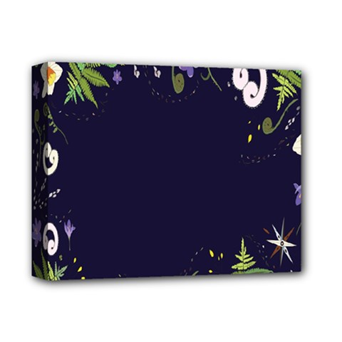 Spring Wind Flower Floral Leaf Star Purple Green Frame Deluxe Canvas 14  X 11  by Alisyart