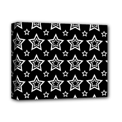 Star Black White Line Space Deluxe Canvas 14  X 11  by Alisyart