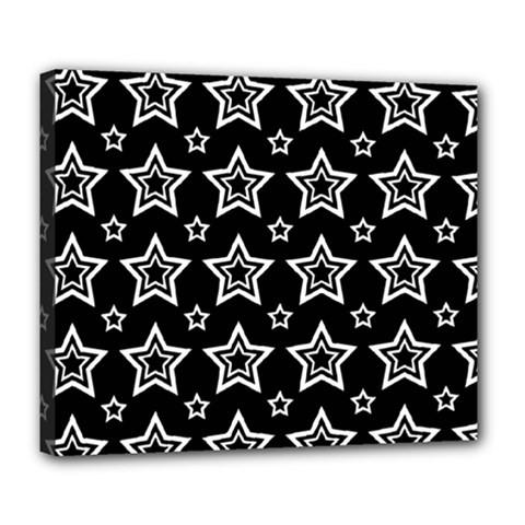 Star Black White Line Space Deluxe Canvas 24  X 20   by Alisyart