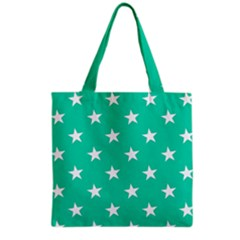 Star Pattern Paper Green Grocery Tote Bag by Alisyart