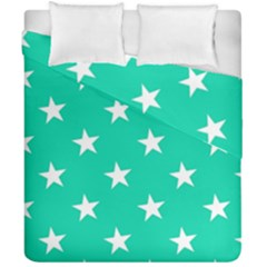 Star Pattern Paper Green Duvet Cover Double Side (california King Size) by Alisyart