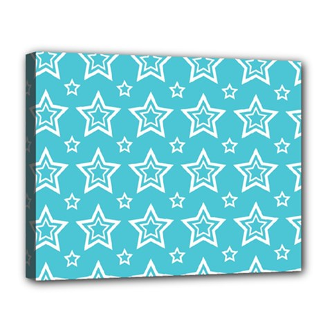 Star Blue White Line Space Sky Canvas 14  X 11  by Alisyart