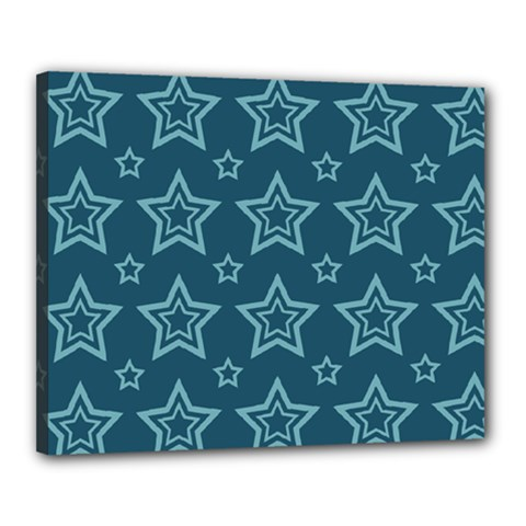 Star Blue White Line Space Canvas 20  X 16  by Alisyart
