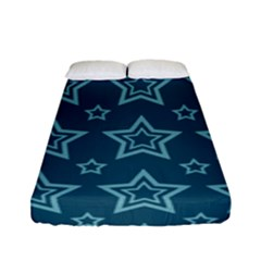 Star Blue White Line Space Fitted Sheet (full/ Double Size) by Alisyart