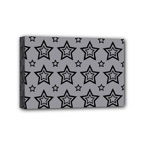 Star Grey Black Line Space Mini Canvas 6  X 4  by Alisyart