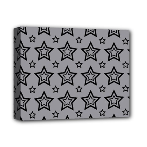 Star Grey Black Line Space Deluxe Canvas 14  X 11  by Alisyart