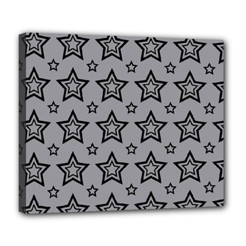 Star Grey Black Line Space Deluxe Canvas 24  X 20   by Alisyart