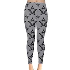 Star Grey Black Line Space Leggings  by Alisyart