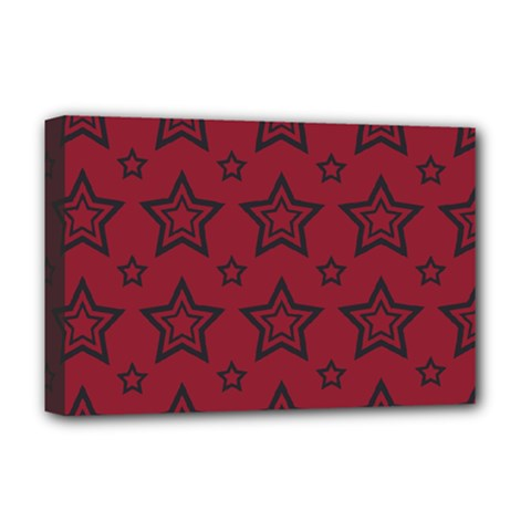 Star Red Black Line Space Deluxe Canvas 18  X 12   by Alisyart