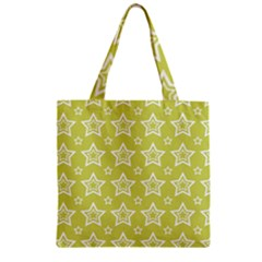 Star Yellow White Line Space Zipper Grocery Tote Bag by Alisyart