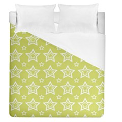 Star Yellow White Line Space Duvet Cover (queen Size) by Alisyart