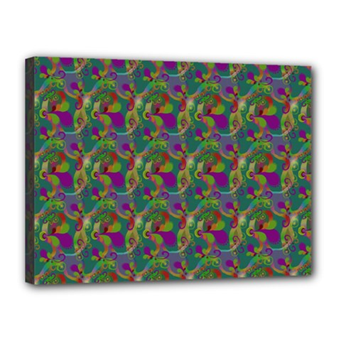Pattern Abstract Paisley Swirls Canvas 16  X 12  by Simbadda